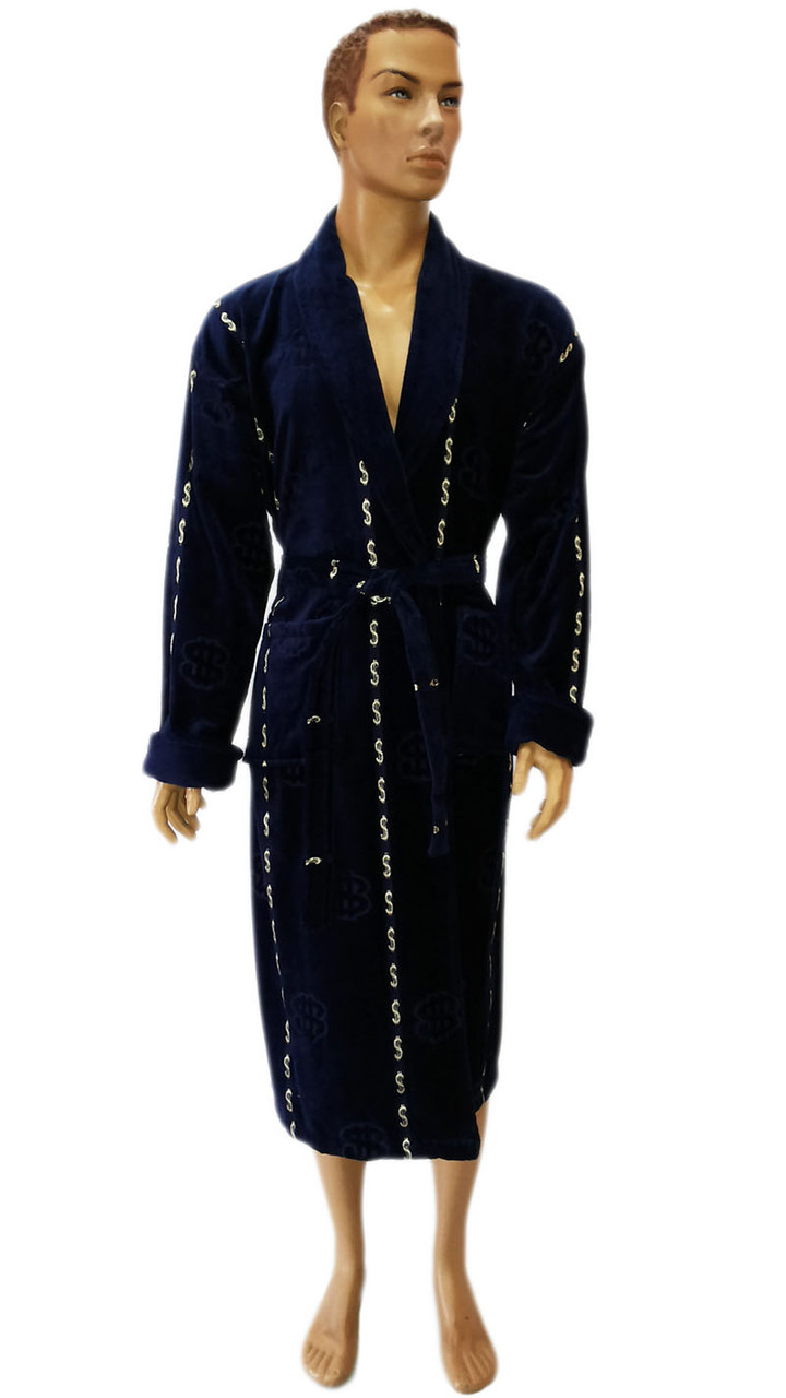 Massimo Monelli халат мужской темно-синий с шалевым воротом (100% хлопок)