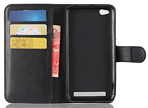 Кожаный чехол-книжка для Xiaomi Redmi 5A черный, фото 3