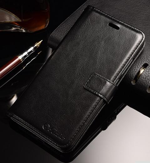 Кожаный чехол-книжка для Xiaomi Redmi Note 5A черный