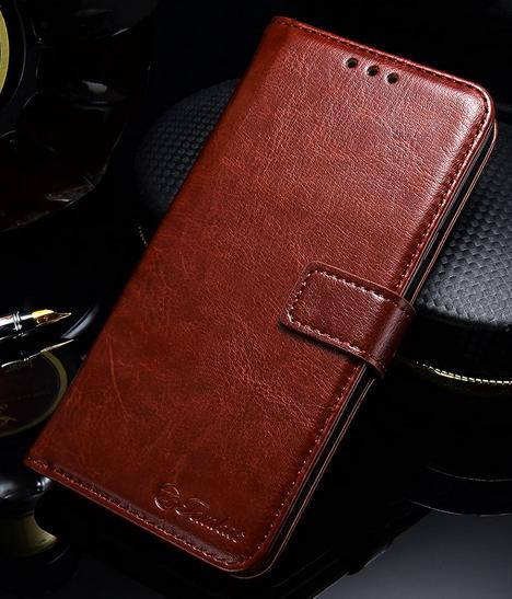 Кожаный чехол-книжка для Samsung Galaxy Note 9 коричневый