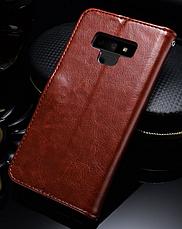 Кожаный чехол-книжка для Samsung Galaxy Note 9 коричневый, фото 2