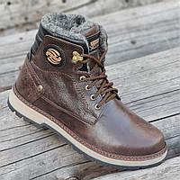 Зимние мужские высокие ботинки сапоги кожаные коричневые на меху на полиуретановой подошве (Код: Т1288)