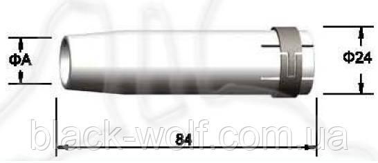 Сопло газовое BW 145.0045, цилиндрическое 18/24/84 мм для сварочной горелки с воздушным охлаждением BW 36KD