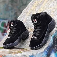 Зимние черные кроссовки в стиле FILA на платформе женские подростковые на высокой подошве (Код: Т1263a)