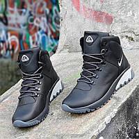 Высокие зимние черные мужские кроссовки Nike кожаные на толстой подошве натуральный мех (Код: Т1265a)