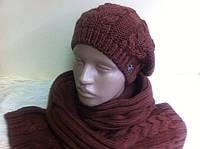Молодёжный комплект крупной вязки : большой шарф и мини берет  коричневого цвета
