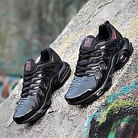 Кроссовки мужские Nike Air Max Plus TN реплика черные легкие и удобные, подошва пенка (Код: Т1275a)