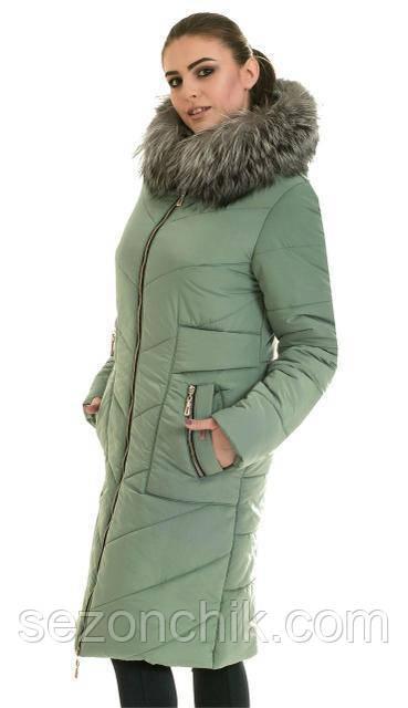 Пуховик женский с натуральным мехом чернобурка удлиненный - Фабрика по пошиву  верхней детской одежды