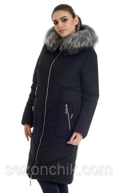 Женское зимнее пальто с натуральным мехом модное