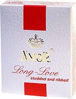 Презервативы - Amor-Long Love, nawilżane, cętk-prążk. 3шт