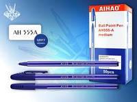Ручка 555 шариковая Синяя, маслянная 0,5мм  уп50