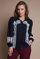 Блуза с кружевом ELSA темно-синяя #O/V