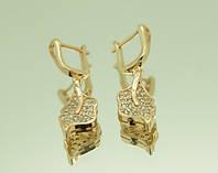 Ювелирные позолоченные серьги со стразами оптом .1588