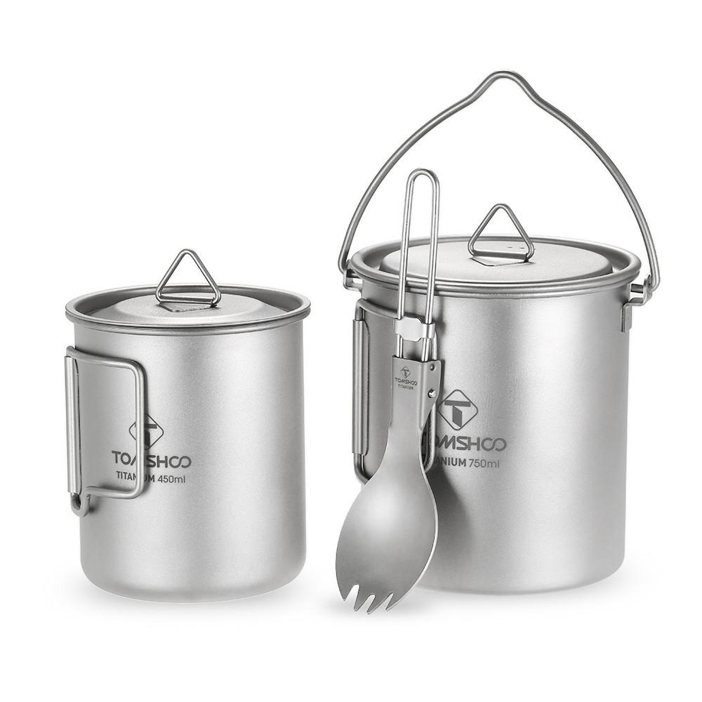 Титановая чашка с котелком и ложкой TOMSHOO ТITANIUM