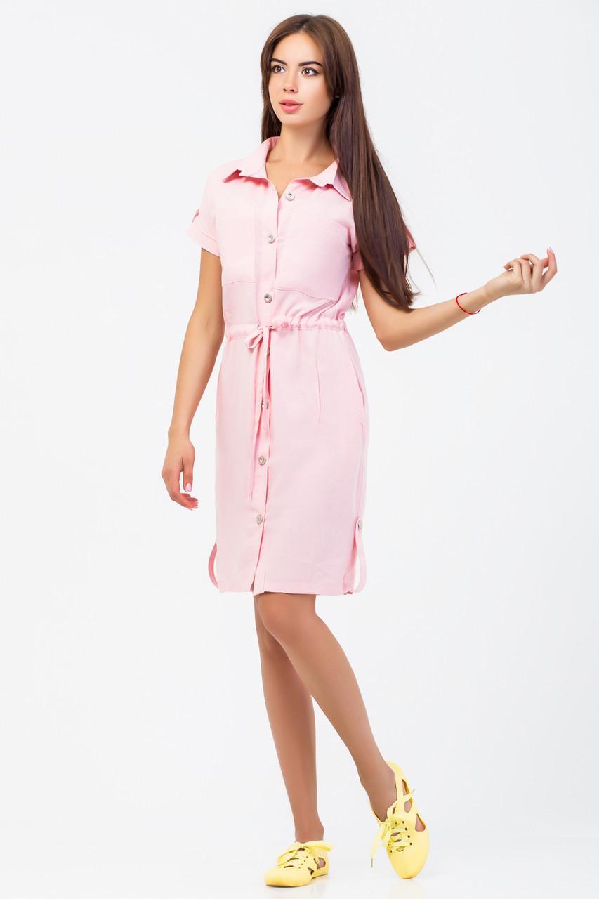b6078f0fdc9 Нежно-розовое Платье-рубашка Из Штапеля — в Категории