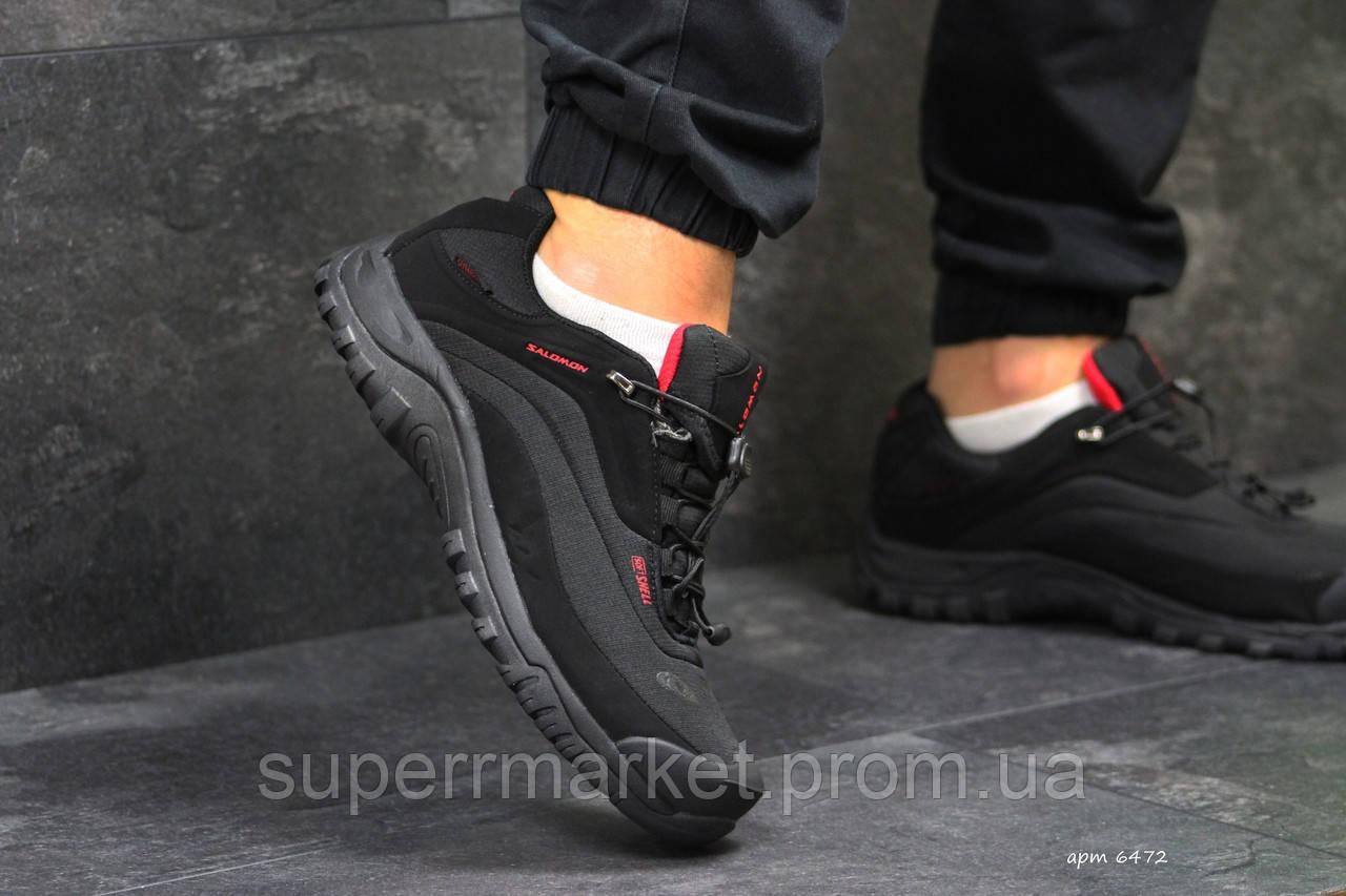 Кроссовки Salomon, черные с красным, термо, код6472