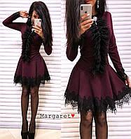 Нарядное платье из креп-дайвинга с кружевом, фото 1