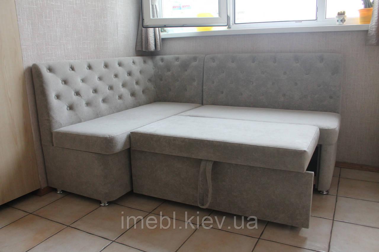 Уголок мягкий кухонный со спальным местом и ящиком (Светло-серый)