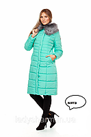 Длинная женская зимняя куртка с воротником на меху