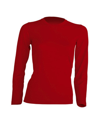 Женская футболка с длинным рукавом , красная