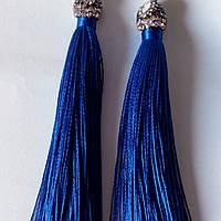 Серьги бахрома синие с черными стразами