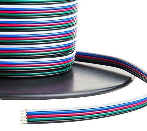 Кабель для RGB ленты плоский 5х0.35 (1метр) Код.59370