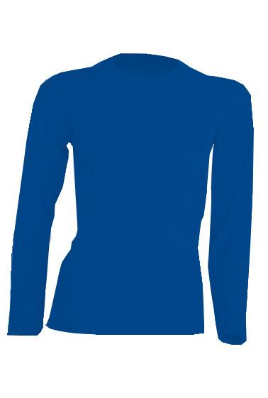 Футболка синего цвета с длинным рукавом, 100% хлопок
