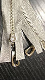 Молния серебро разъемная. серебряная тесьма длина 90 - 110 см, фото 3
