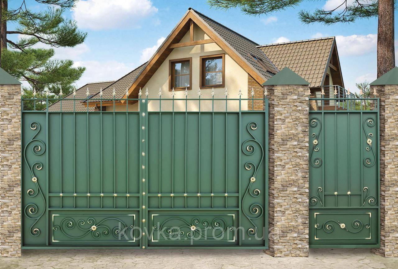 Распашные въездные ворота с калиткой, код: К-0110