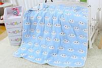 Детский плед-одеяло Комильфо голубой хлопок 100х110 ЕM-010