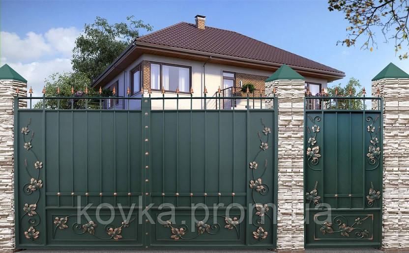Распашные въездные ворота с калиткой, код: К-0111