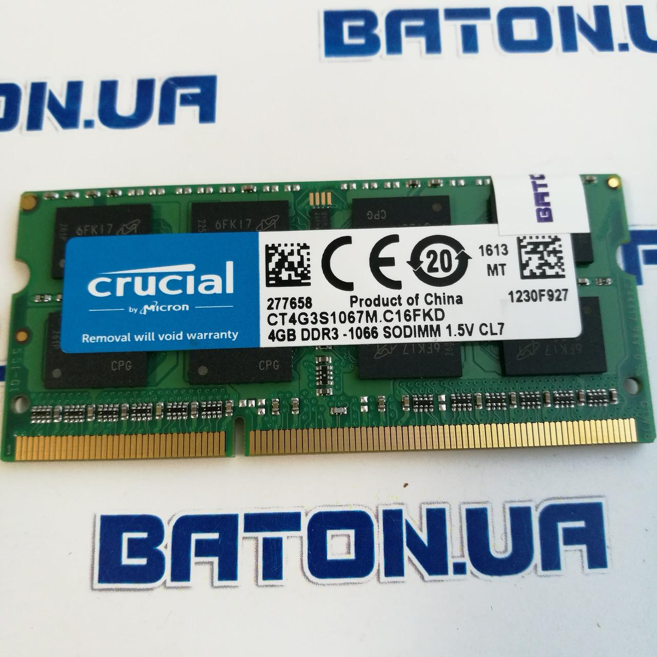 Оперативная память для ноутбука Crucial SODIMM DDR3 4Gb 1066MHz 8500s CL7 (CT4G3S1067M.C16FKD)