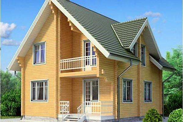 Деревянный двухэтажный дом из профилированного клееного бруса 9х10 м