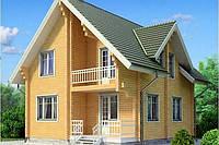 Деревянный двухэтажный дом из профилированного клееного бруса 9х10 м, фото 1