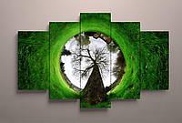 Фотокартина модульная зеленая