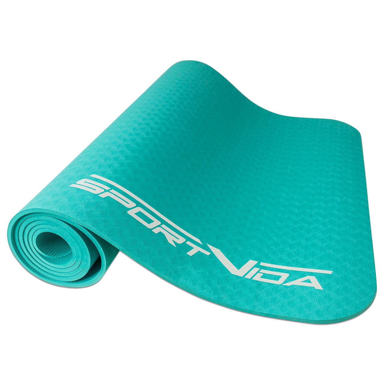 Коврик для йоги, фитнеса и тренировок SportVida TPE, толщина- 6 мм, цвет - мятный