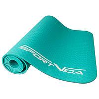 Коврик для йоги, фитнеса и тренировок SportVida TPE, толщина- 6 мм, цвет - мятный, фото 1