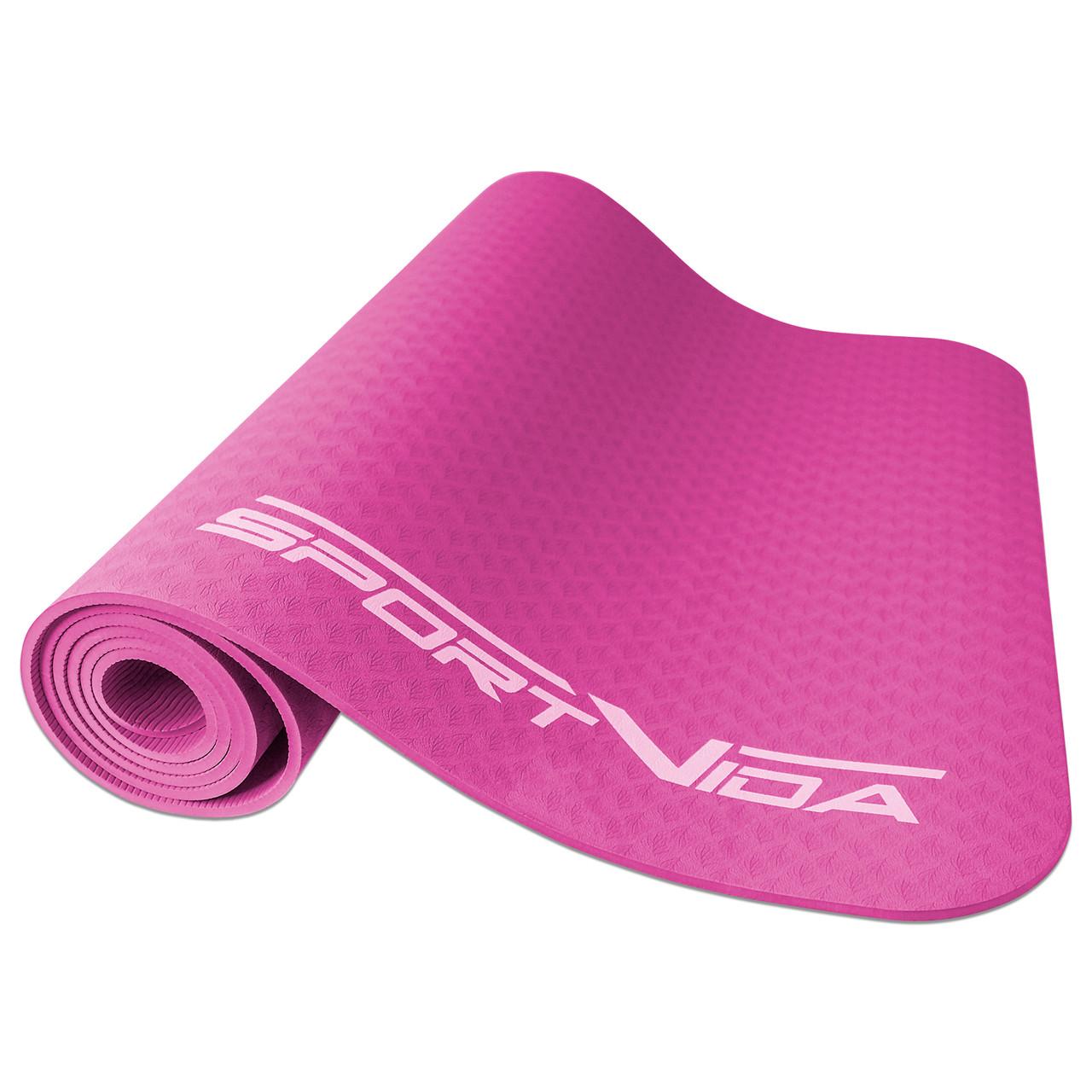Коврик для йоги, фитнеса и тренировок SportVida TPE, толщина- 4 мм, цвет - розовый