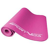 Коврик для йоги, фитнеса и тренировок SportVida TPE, толщина- 4 мм, цвет - розовый, фото 1