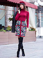 44/S Комбинированное платье-футляр с контрастными вставками на юбке бордовый