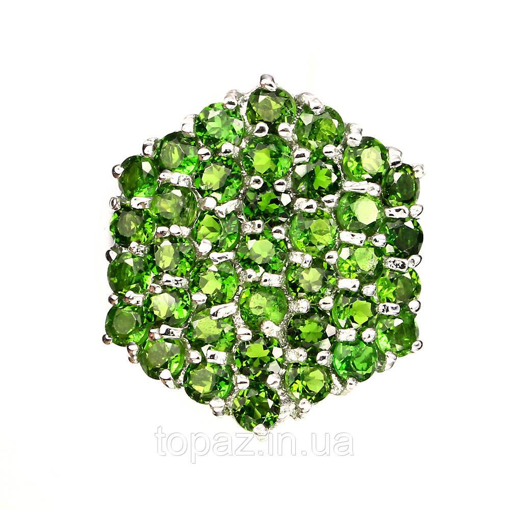 Кольцо серебряное 925 натуральный диопсид.