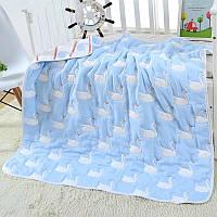Детский плед-одеяло Комильфо голубой хлопок 100х110 ЕM-013