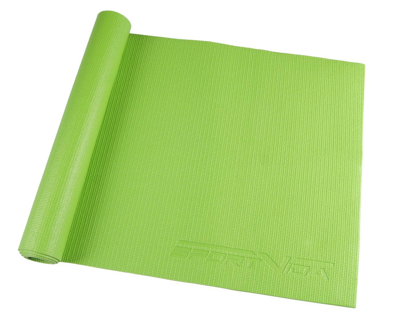 Коврик для фитнеса и йоги SportVida PVC 4 мм Green