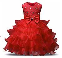 Детское платье нарядное красное на 3-8 лет