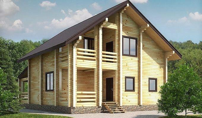 Дом деревянный из профилированного клееного бруса 9х12 м