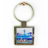 """Брелок для ключей металлический квадратный """"Я люблю Одессу"""""""