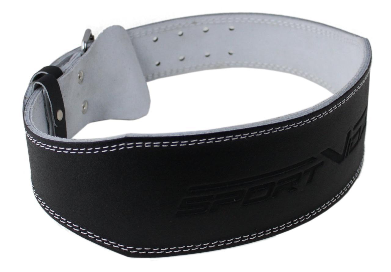 Пояс для тяжелой атлетики с экокожи SportVida SV-AG0077 (L) Black