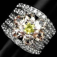 Кольцо серебряное 925 натуральный морганит, сапфир.