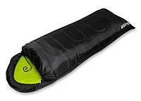 Туристический спальный мешок SportVida для походов, темп. режим до 2 °C, цвет - черно-зеленый, фото 1