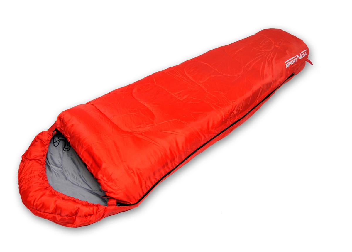 Туристический спальный мешок-кокон для отдыха SportVida, темп.режим до 0°C, цвет - красный